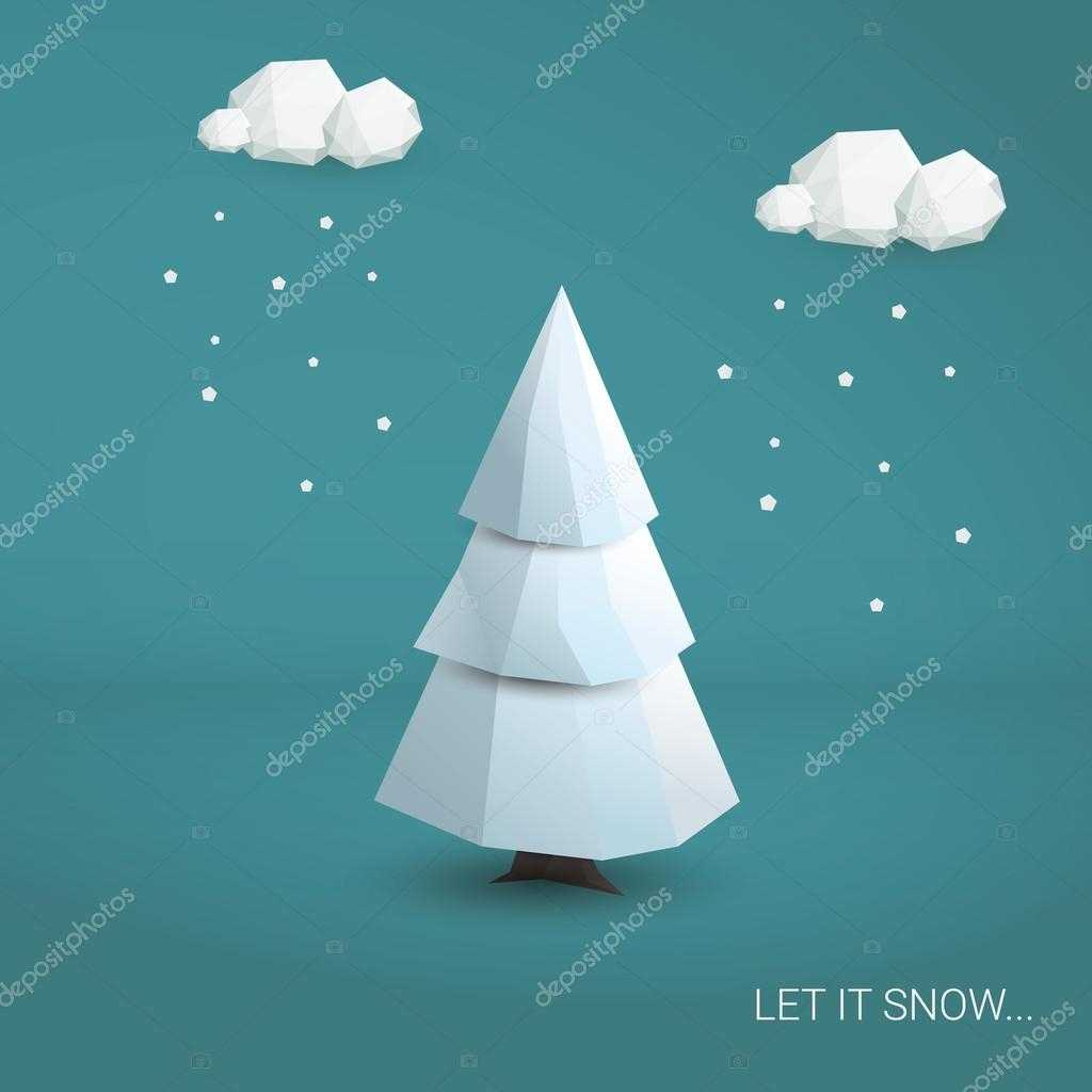 3D Low Poly Christmas Tree Card Template. Traditional With 3D Christmas Tree Card Template