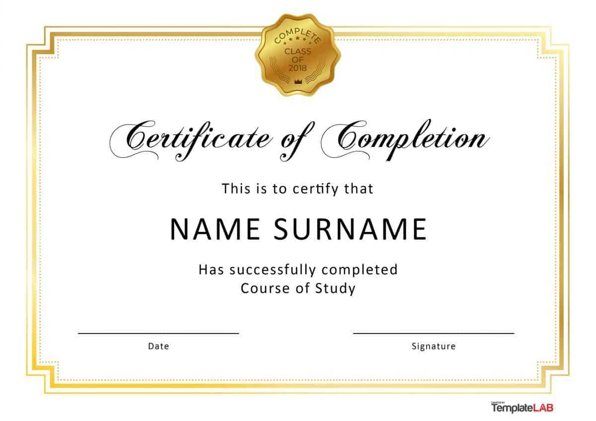 40 Fantastic Certificate Of Completion Templates [Word For Word Certificate Of Achievement Template