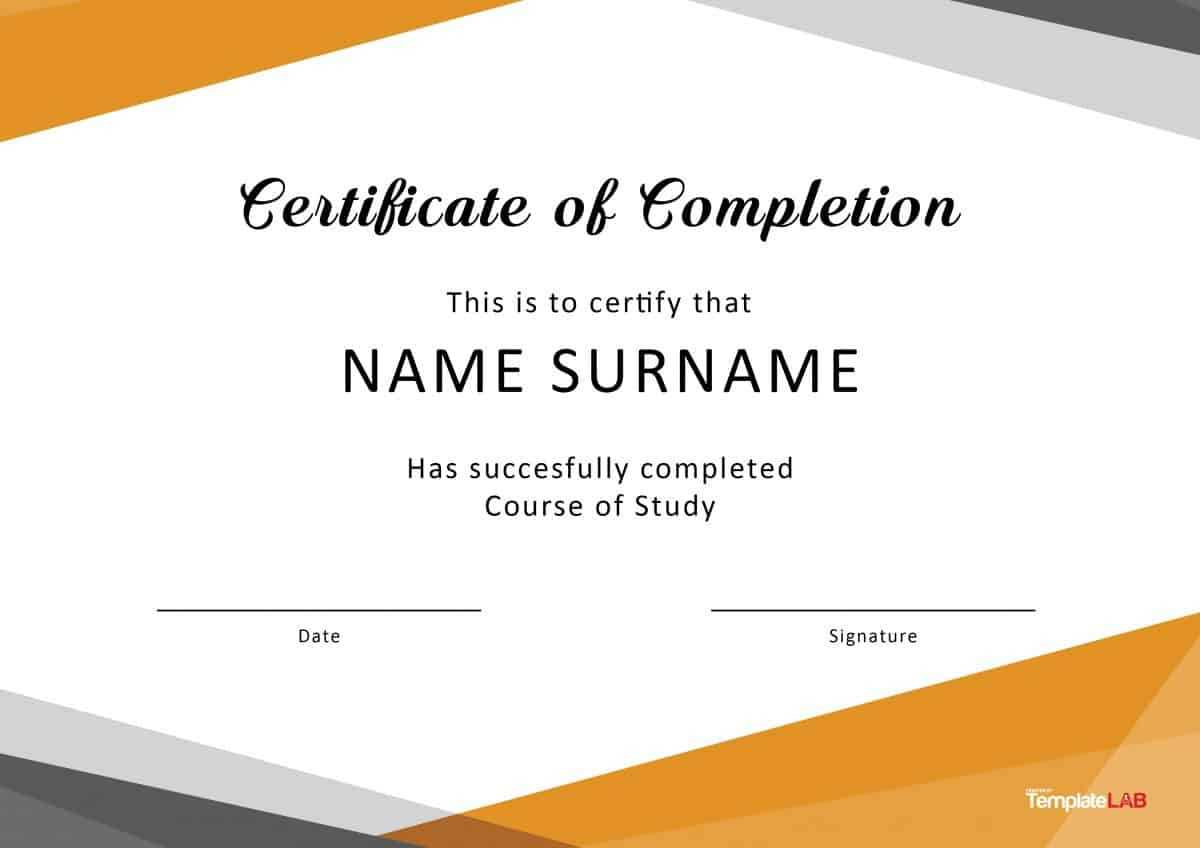 40 Fantastic Certificate Of Completion Templates [Word With Template For Training Certificate