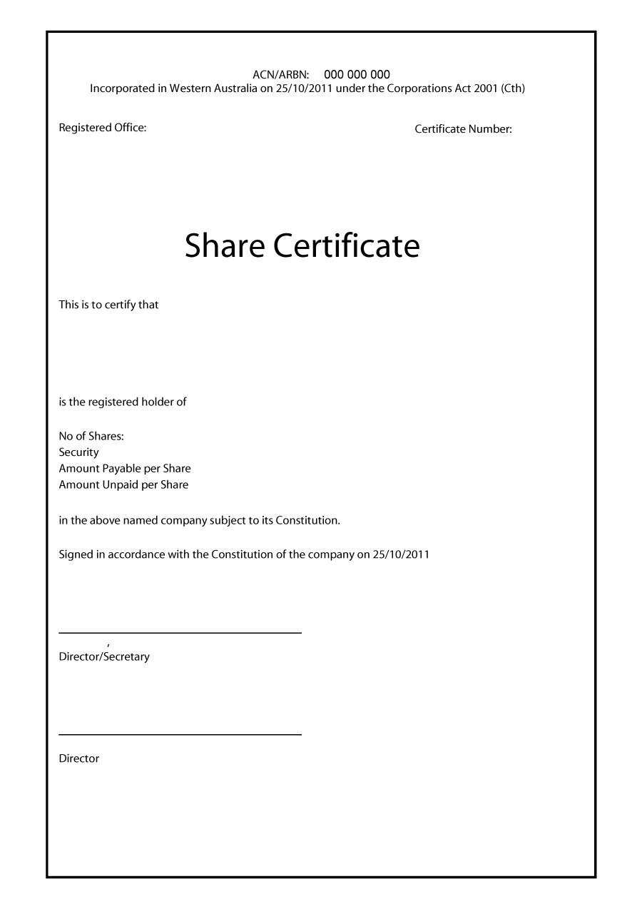 40+ Free Stock Certificate Templates (Word, Pdf) ᐅ Template Lab Inside Shareholding Certificate Template