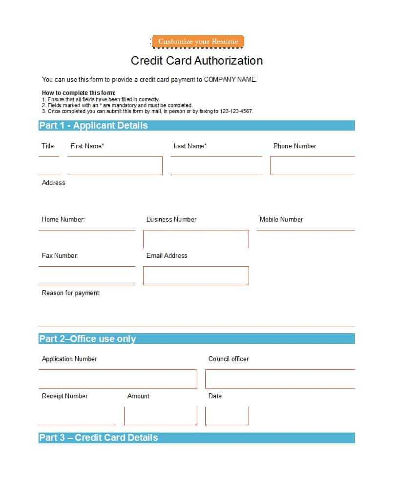 41 Credit Card Authorization Forms Templates {Ready To Use} Regarding Order Form With Credit Card Template