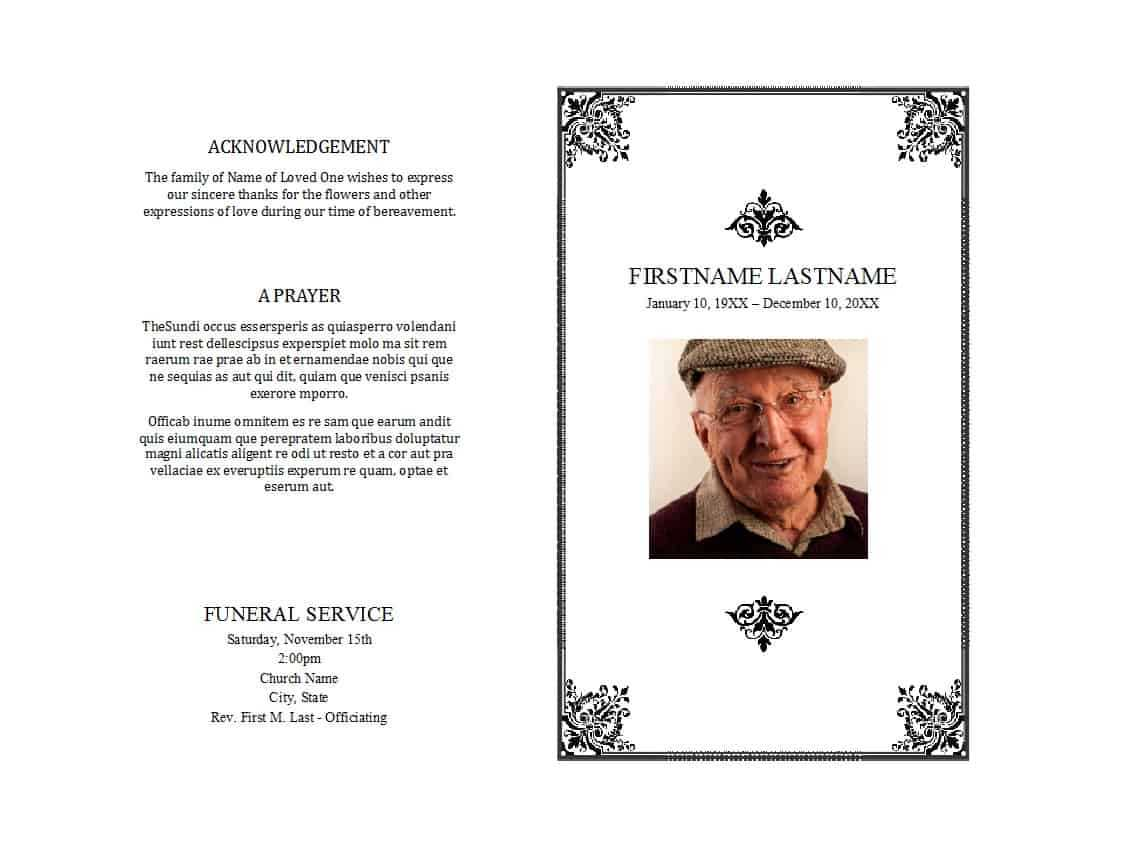 47 Free Funeral Program Templates (In Word Format) ᐅ Pertaining To Memorial Brochure Template