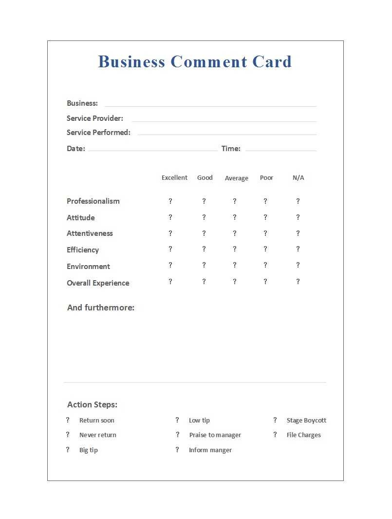 50 Printable Comment Card & Feedback Form Templates ᐅ Pertaining To Survey Card Template