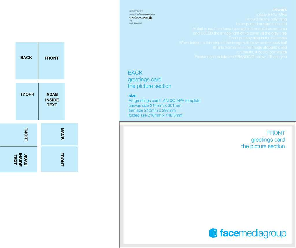 A5 Landscape Greetings Card Template - Tent Fold - Outside Throughout Fold Out Card Template