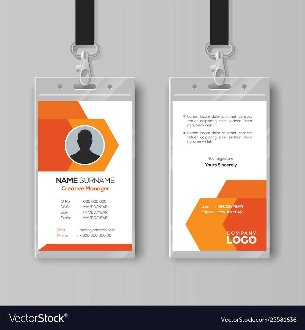 Abstract Orange Id Card Design Template Within Conference Id Card Template