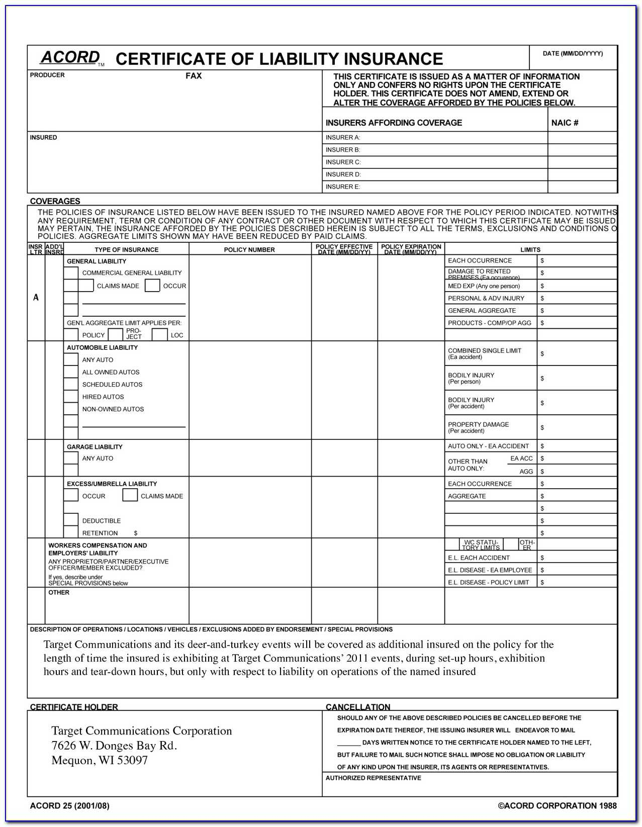 Acord Certificate Of Liability Insurance Template Top Pertaining To Certificate Of Liability Insurance Template