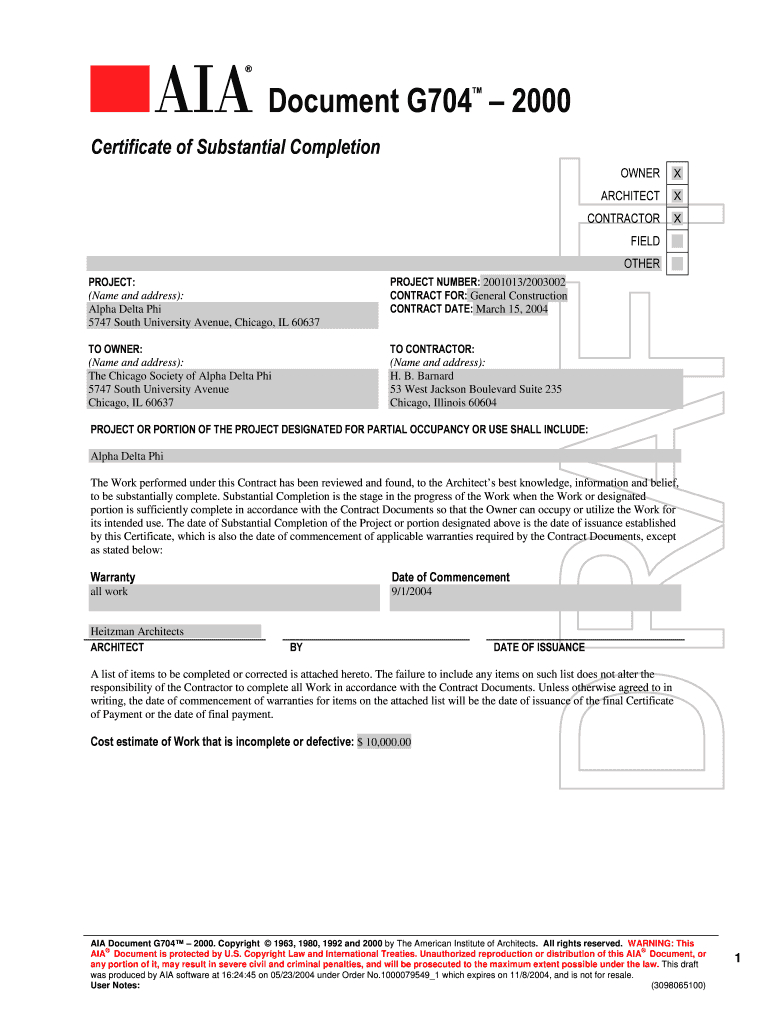 Aia G704 - Fill Online, Printable, Fillable, Blank | Pdffiller With Regard To Certificate Of Substantial Completion Template