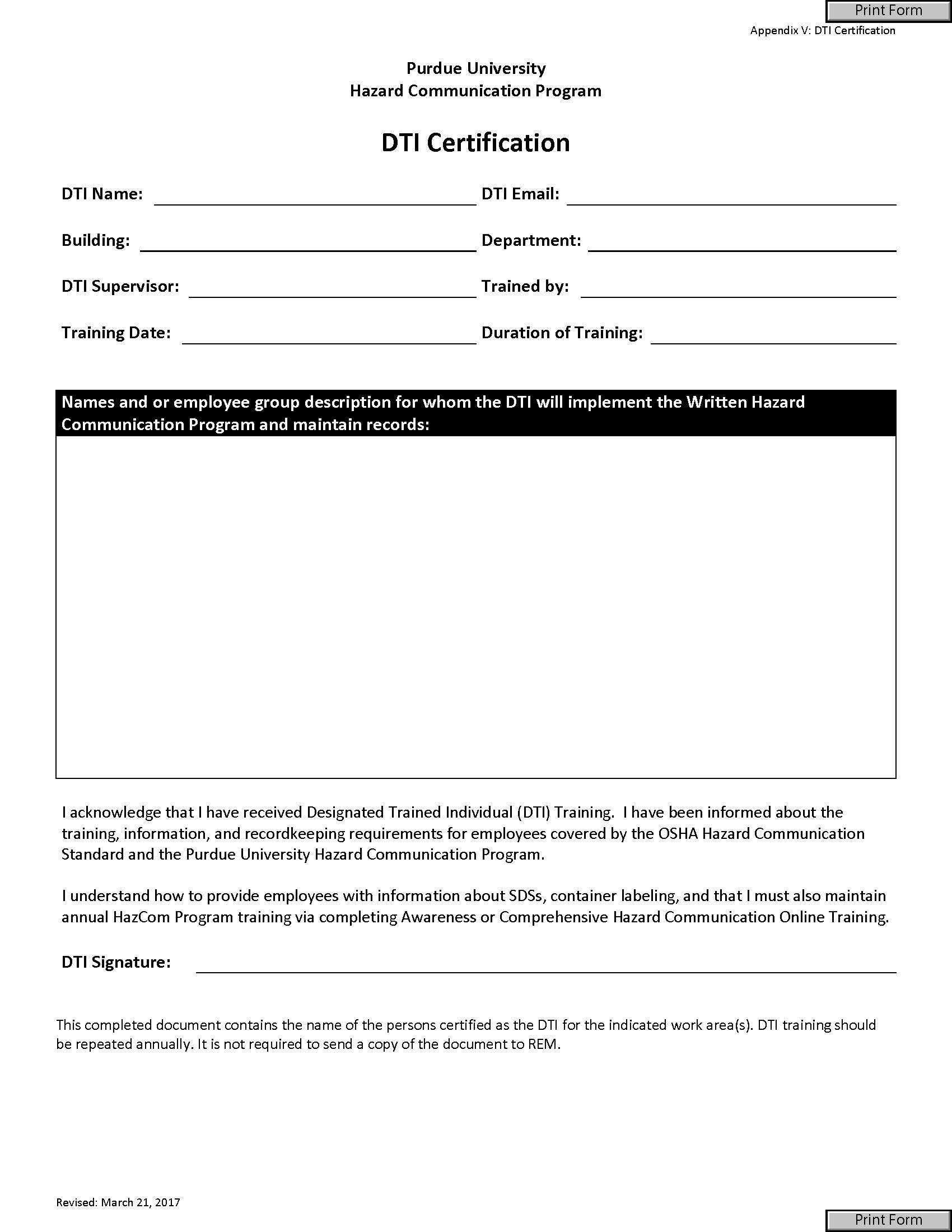 All Forms – Radiological & Environmental Management – Purdue Pertaining To Certificate Of Disposal Template
