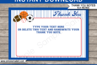All Star Sports Party Thank You Cards Template pertaining to Soccer Thank You Card Template