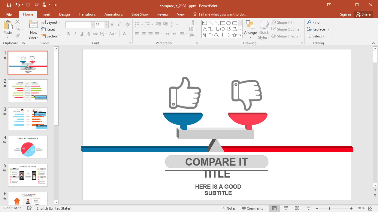 Animated Compare It Powerpoint Template With What Is Template In Powerpoint