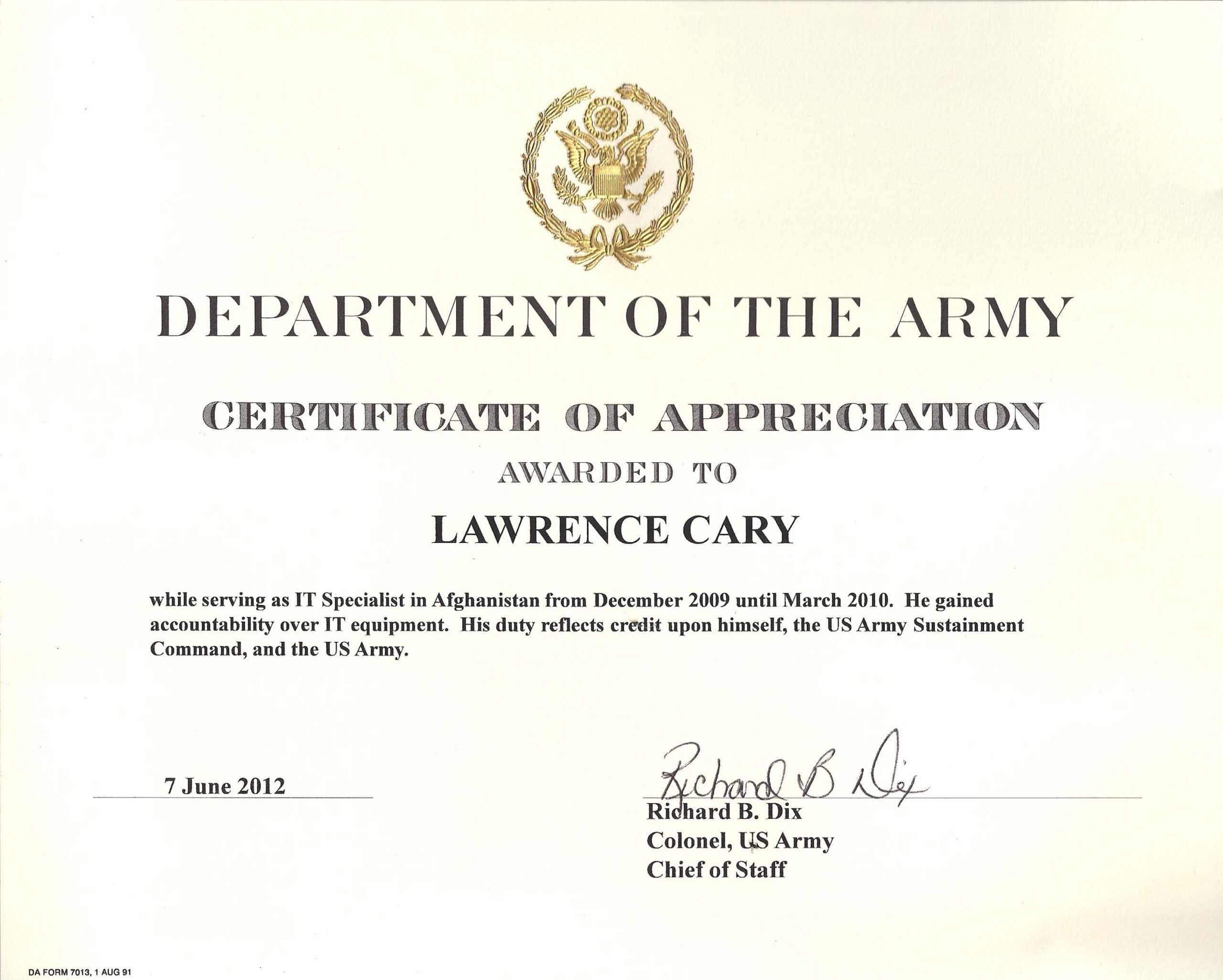Army Certificate Of Achievement Template Pertaining To Certificate Of Achievement Army Template