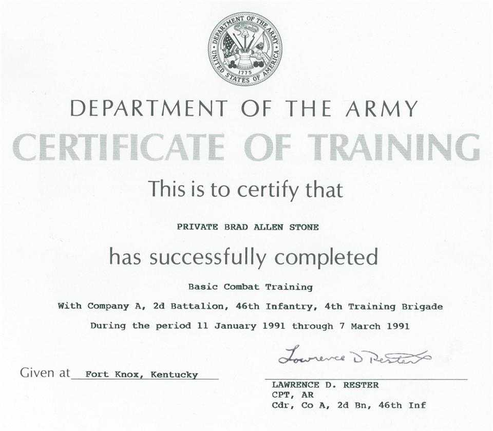 Army Certificate Of Training Template - Mahre With Army Certificate Of Completion Template
