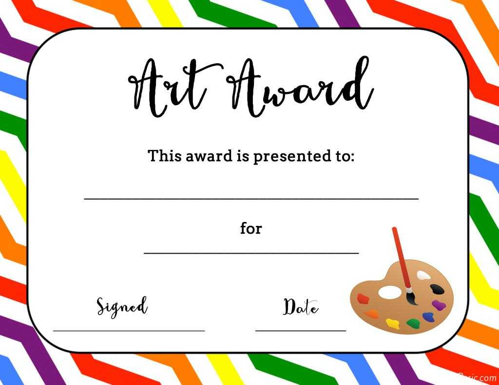 Art Temlates Student Certificate Awards Printable With Free Art Certificate Templates