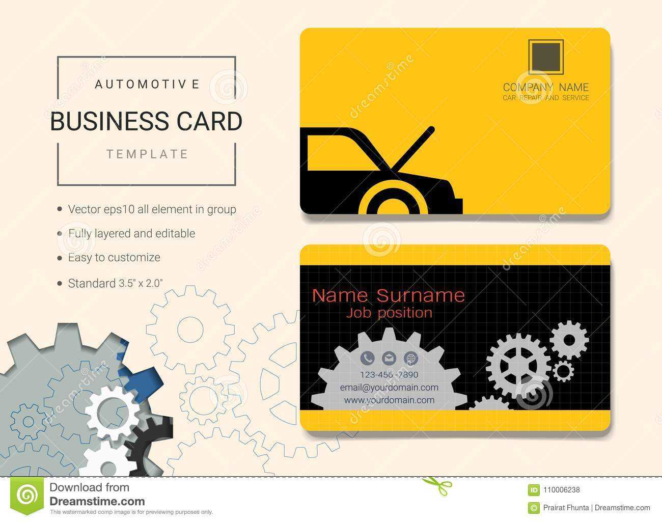 Automotive Business Card Or Name Card Template. Stock Vector Regarding Automotive Business Card Templates