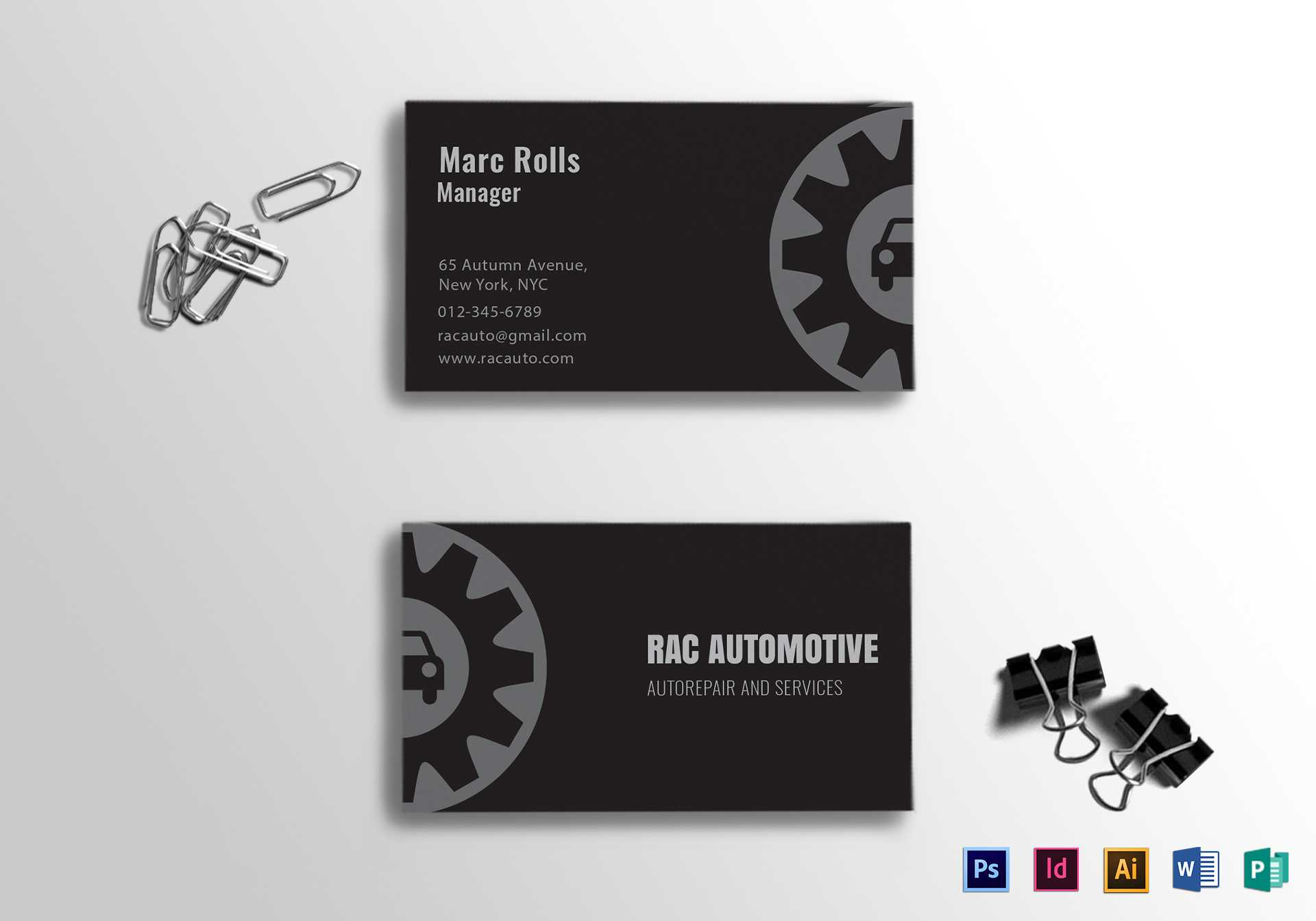 Automotive Business Card Template Within Automotive Business Card Templates