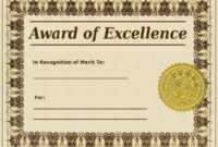 Award Of Excellence Certificate Template Sample Templates throughout Award Of Excellence Certificate Template