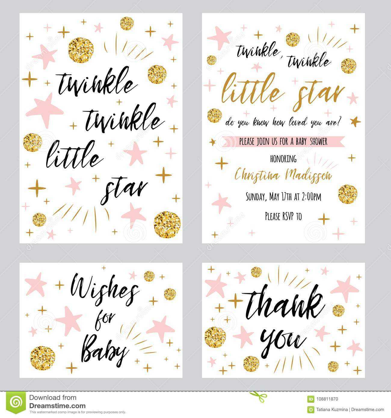 Baby Shower Girl Templates Twinkle Twinkle Little Star Text Throughout Thank You Card Template For Baby Shower