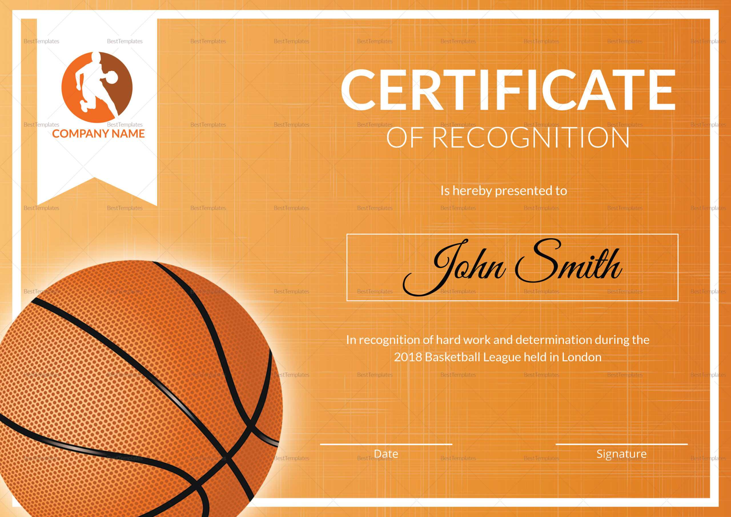 Basketball Recognition Certificate Template With Basketball Certificate Template