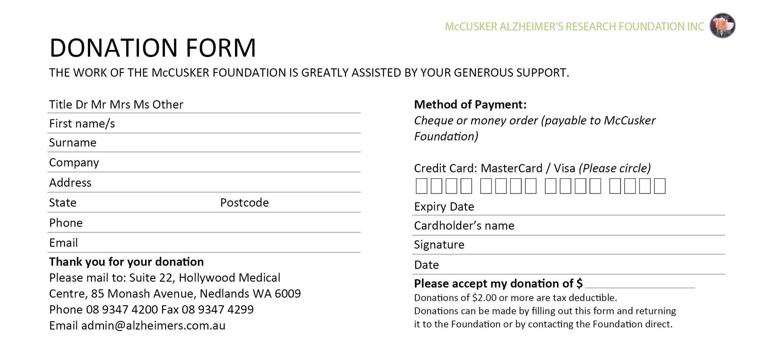 Best Fundraising Request Form Template Ideas ~ Thealmanac Throughout Donation Cards Template