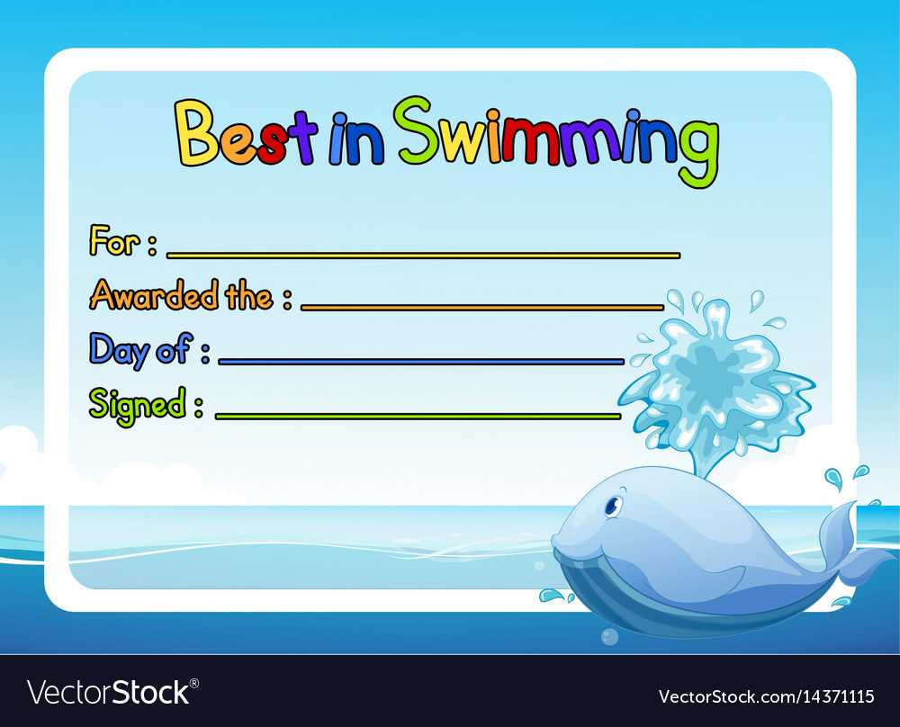 Best In Swimming Award Template With Whale In In Free Swimming Certificate Templates