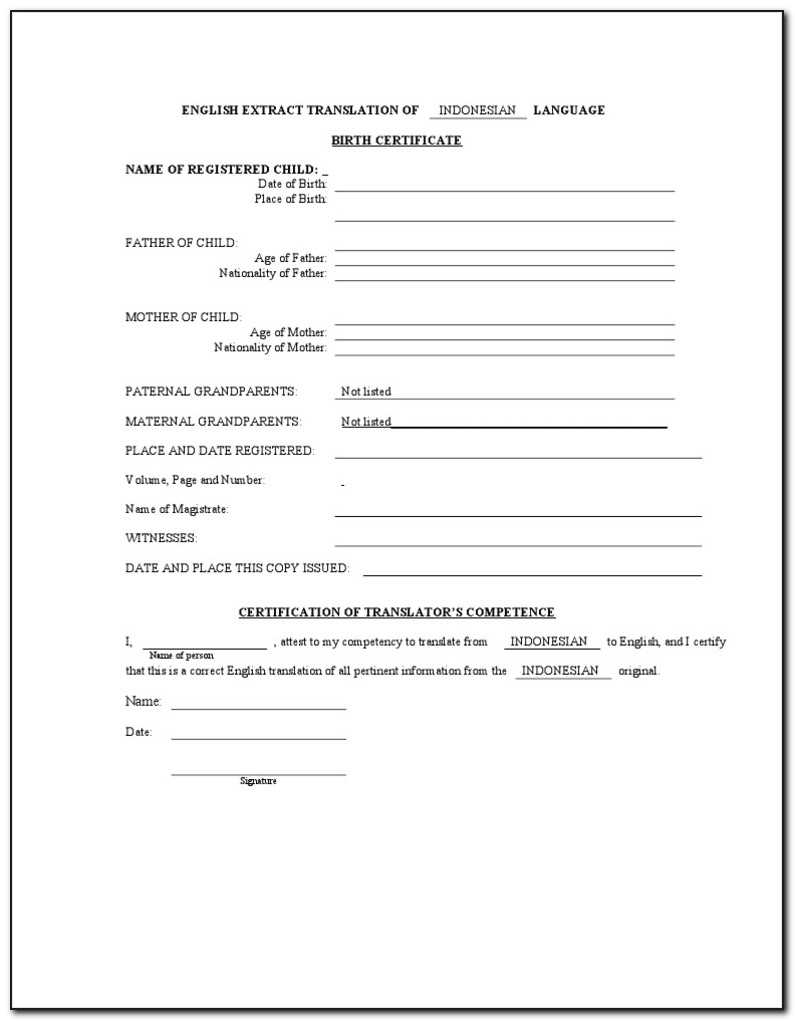 Birth Certificate Translation Form For Uscis - Form : Resume For Uscis Birth Certificate Translation Template
