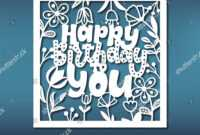 Birthday Card Template Laser Cutting Pattern Stock Vector regarding Silhouette Cameo Card Templates