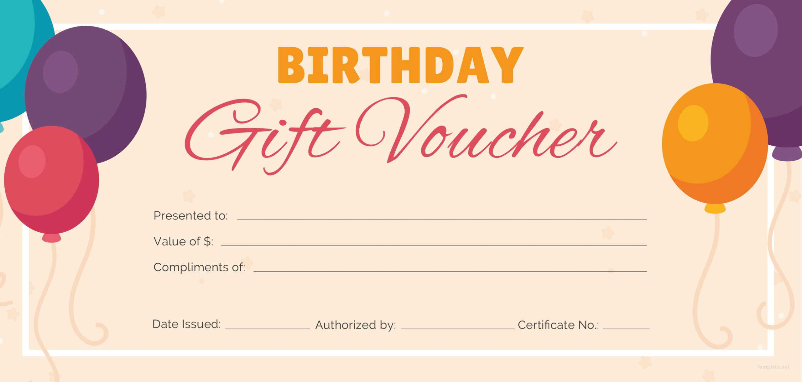 Birthday Gift Certificate Template Free Printable With Regard To Printable Gift Certificates Templates Free