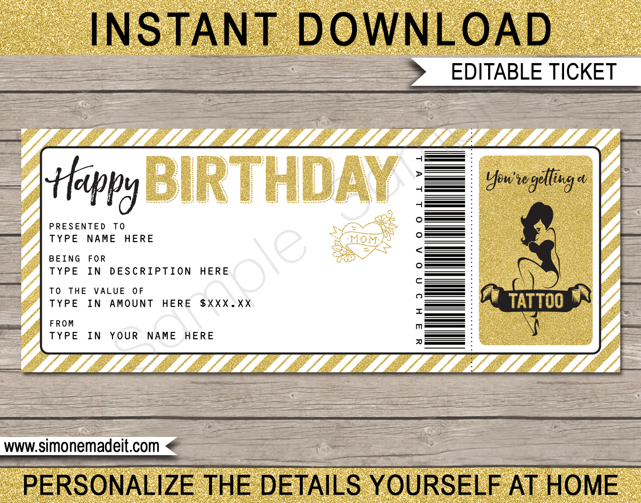 Birthday Tattoo Gift Vouchers For Tattoo Gift Certificate Template