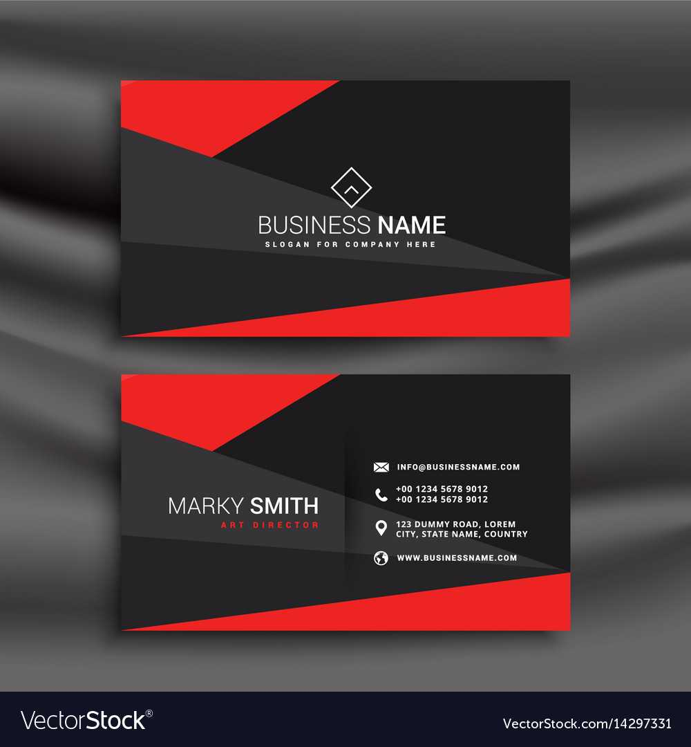 Black And Red Business Card Template With Inside Buisness Card Templates