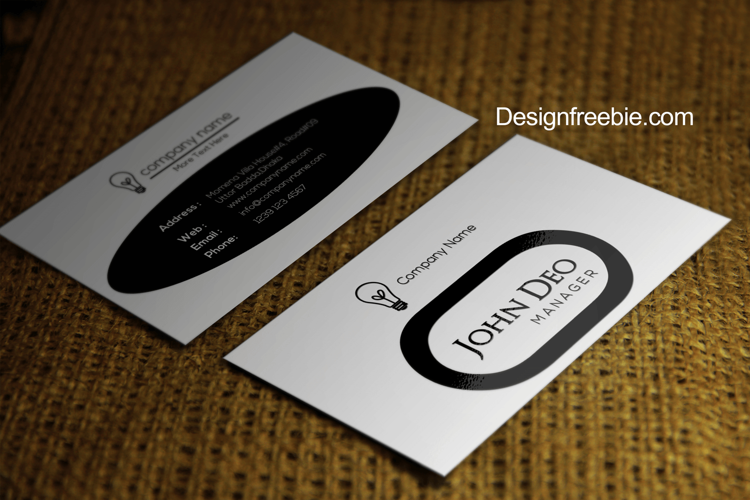 Black And White Free Business Card Template Psd Inside Black And White Business Cards Templates Free