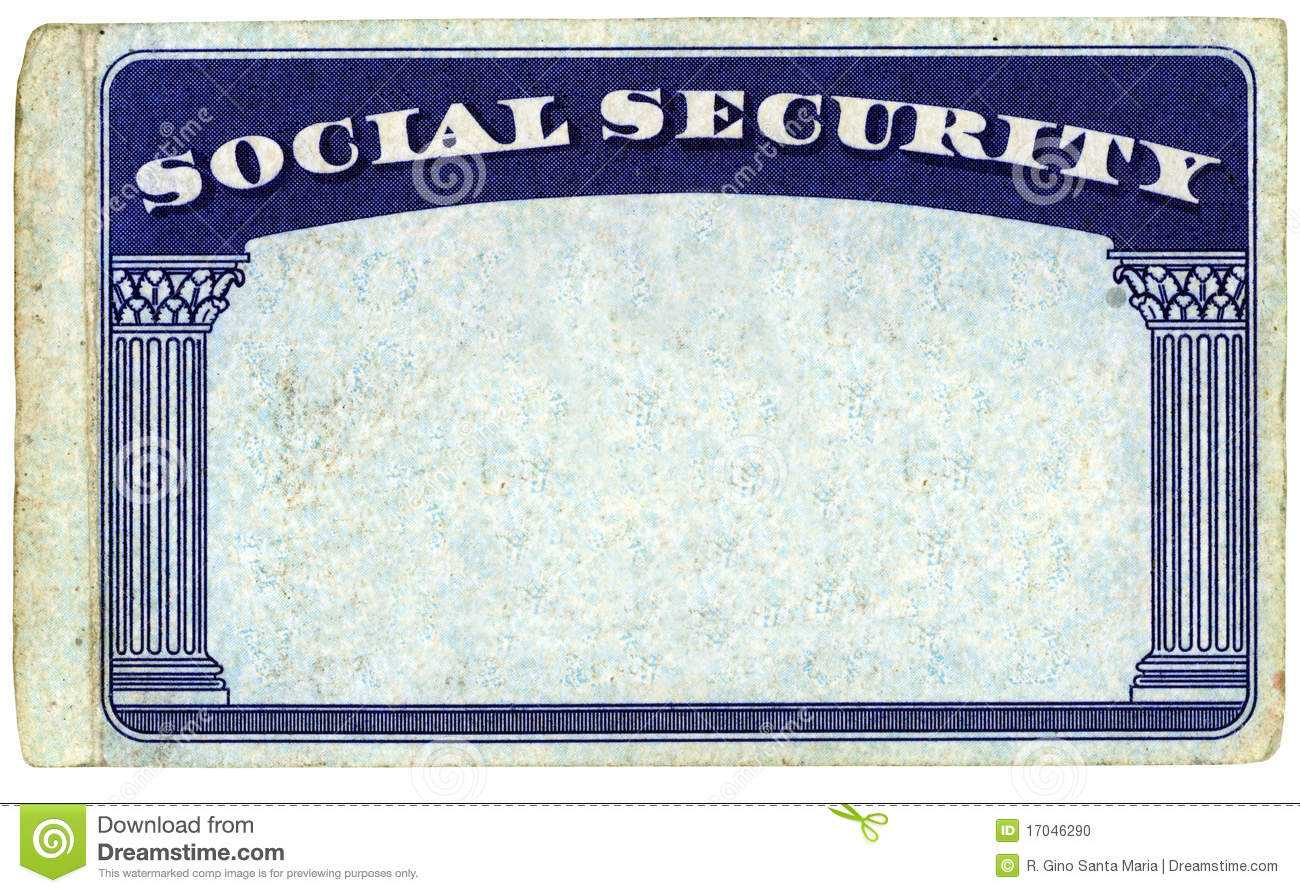 Blank American Social Security Card Stock Photo - Image Of Intended For Ss Card Template