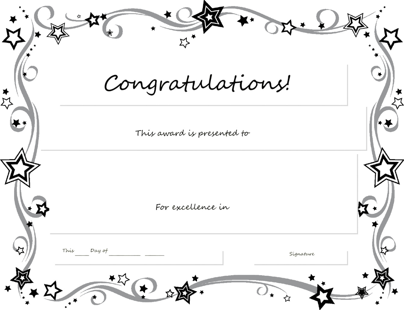 Blank Award Certificate Template - Zohre.horizonconsulting.co Throughout Congratulations Certificate Word Template