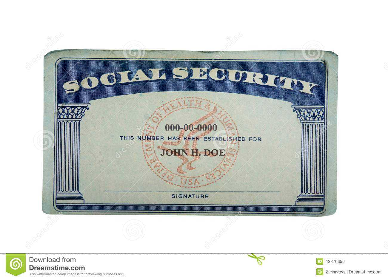 Blank Card Stock Photo. Image Of Paper, Social, Security Pertaining To Ss Card Template