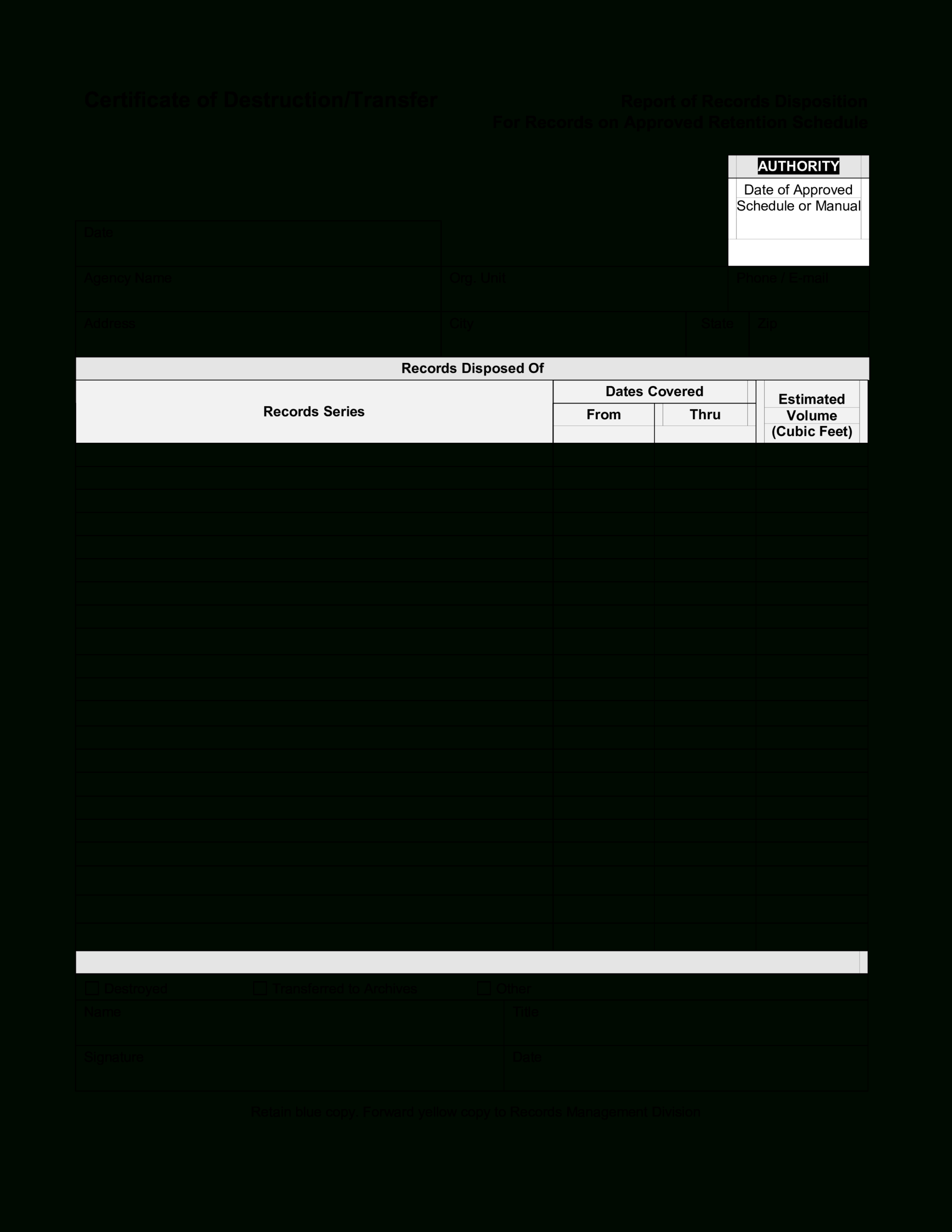 Blank Certificate Of Destruction | Templates At Inside Destruction Certificate Template