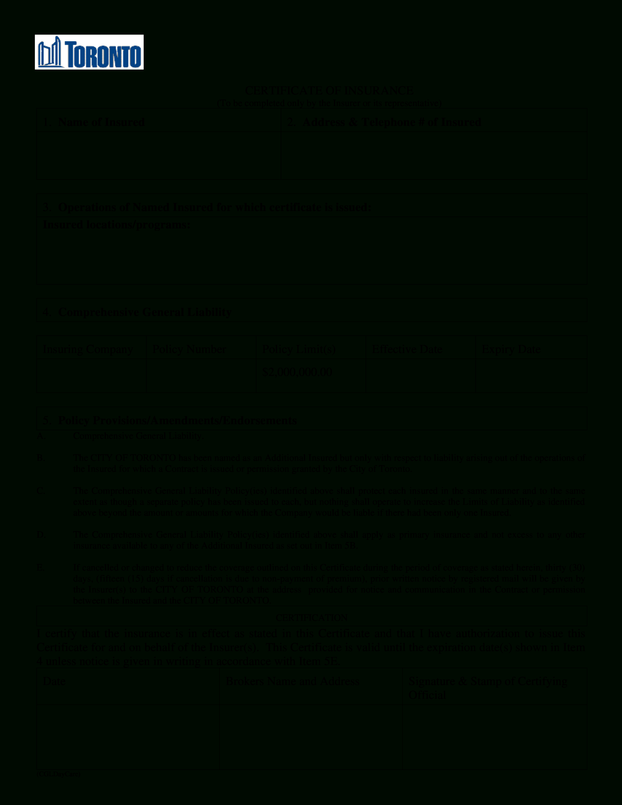 Blank Certificate Of Insurance | Templates At Inside Certificate Of Insurance Template