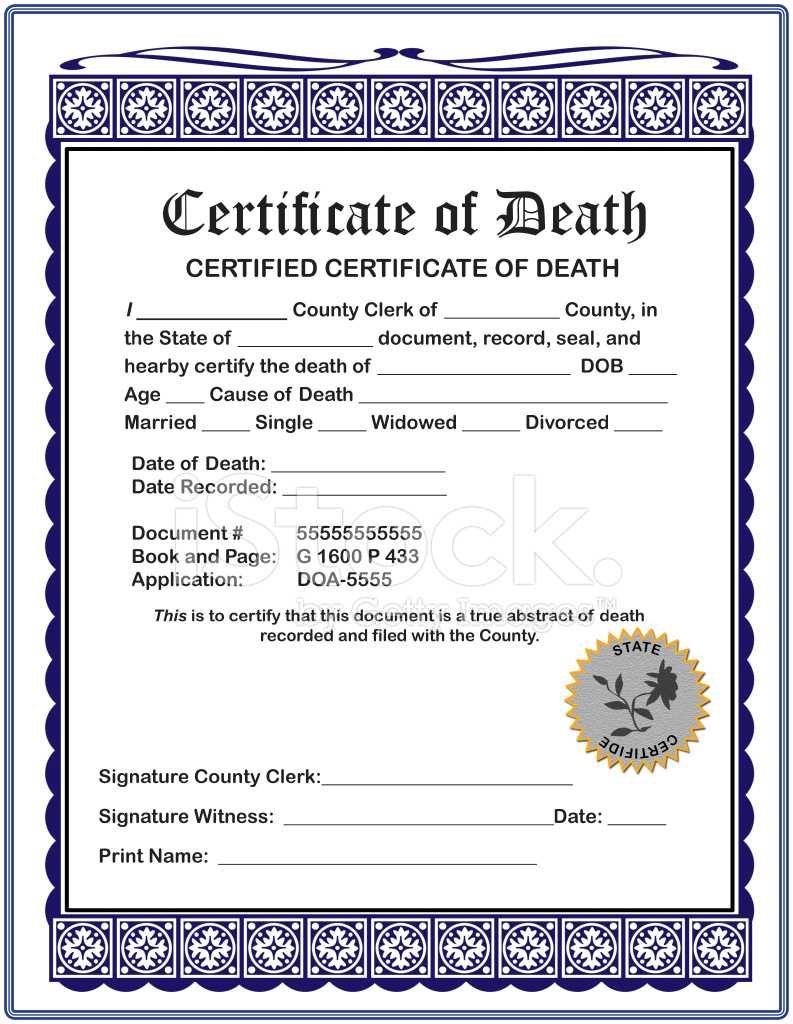 Blank Death Certificate - Zohre.horizonconsulting.co Intended For Fake Death Certificate Template