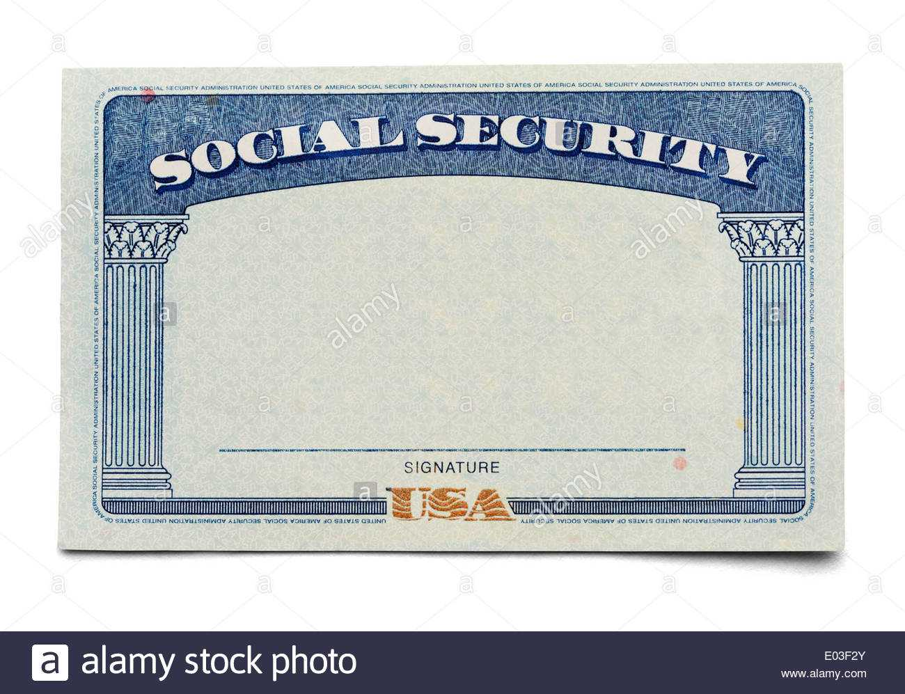 Blank Social Security Card Isolated On A White Background Inside Ss Card Template
