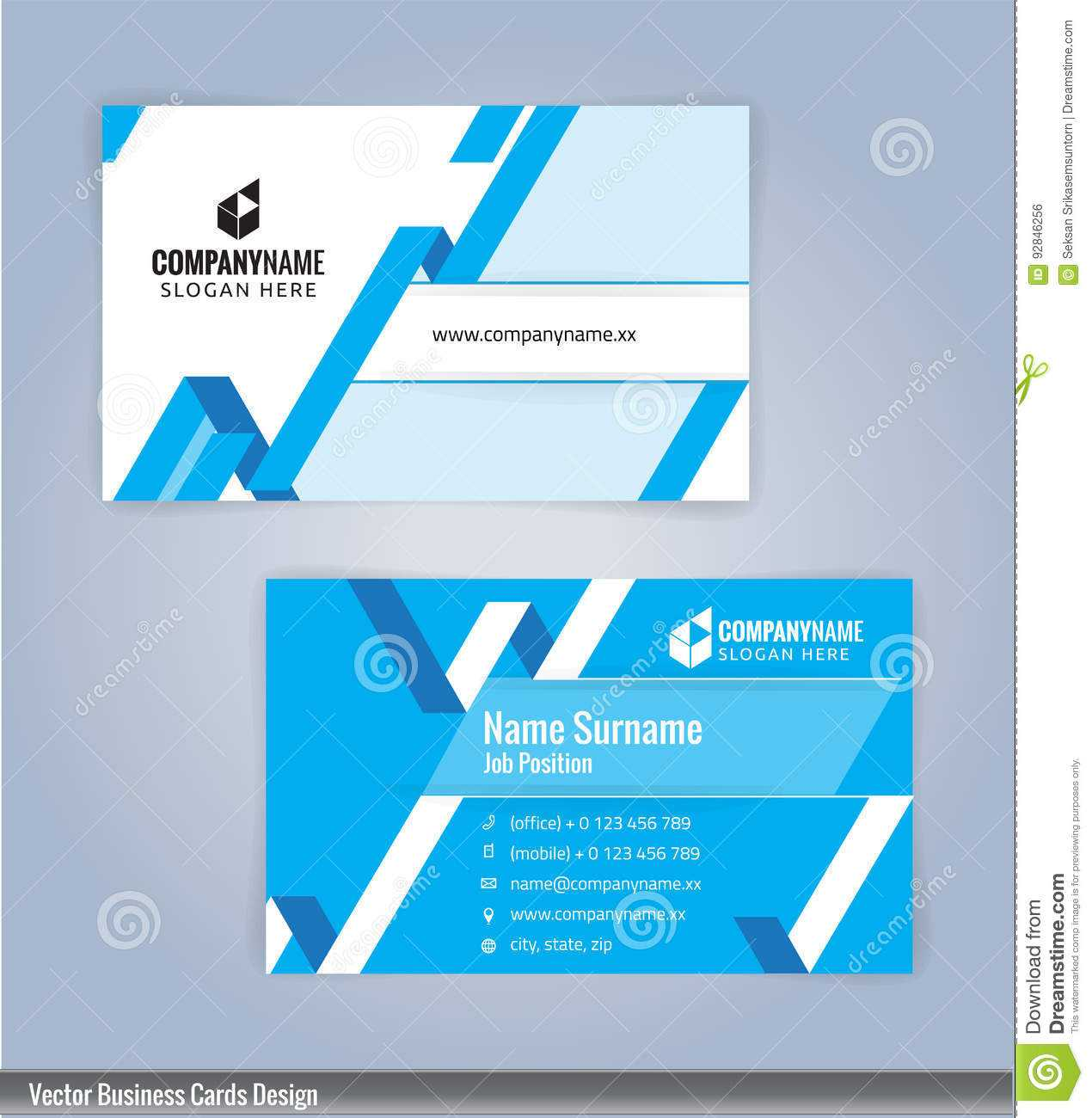Blue And White Modern Creative And Clean Business Card Intended For Office Max Business Card Template
