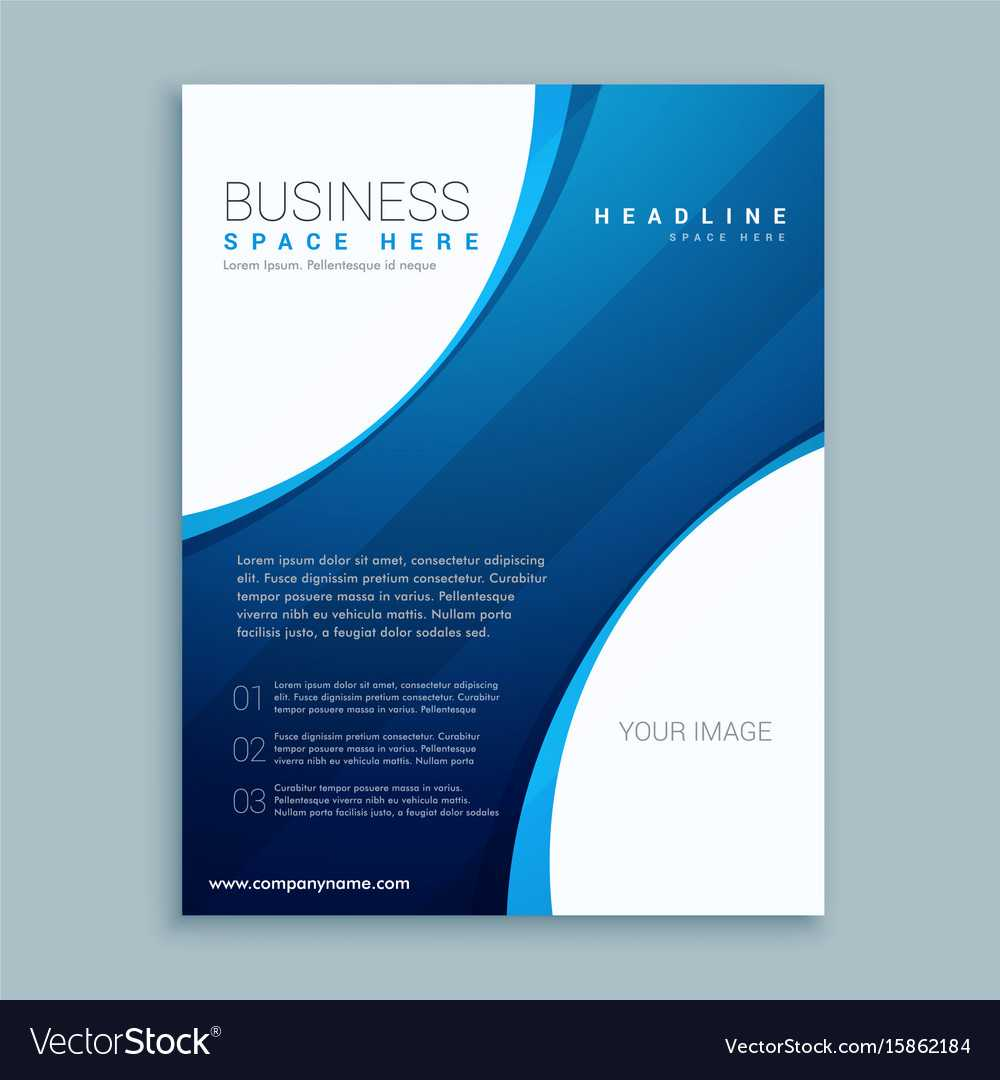 Blue Brochure Template With Curve Lines With Regard To Free Illustrator Brochure Templates Download