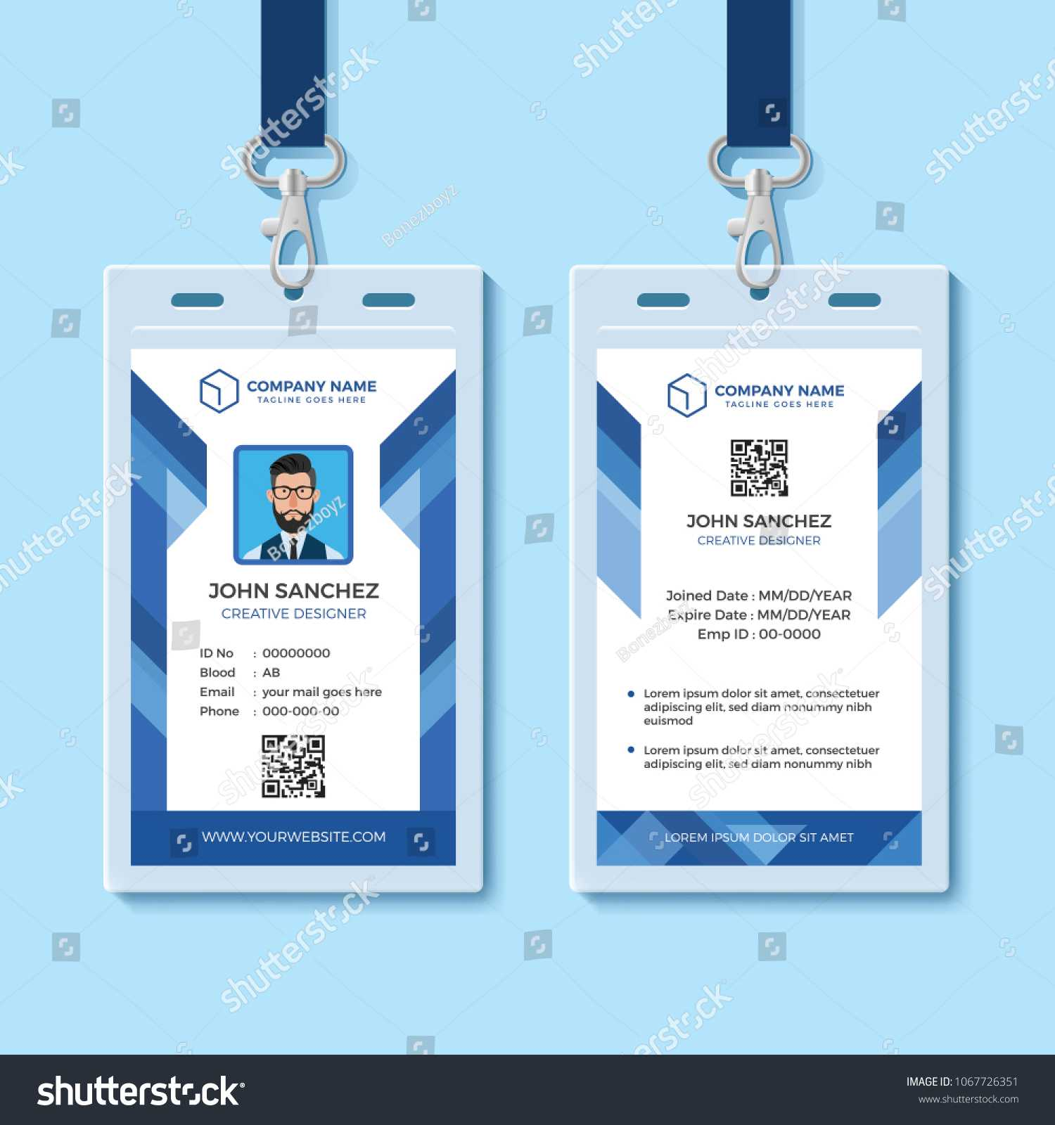 Blue Employee Id Card Template Stock Vector (Royalty Free Within Template For Id Card Free Download