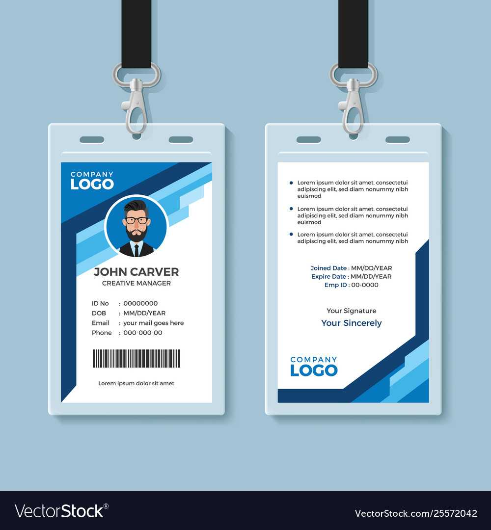 Blue Graphic Employee Id Card Template In Work Id Card Template