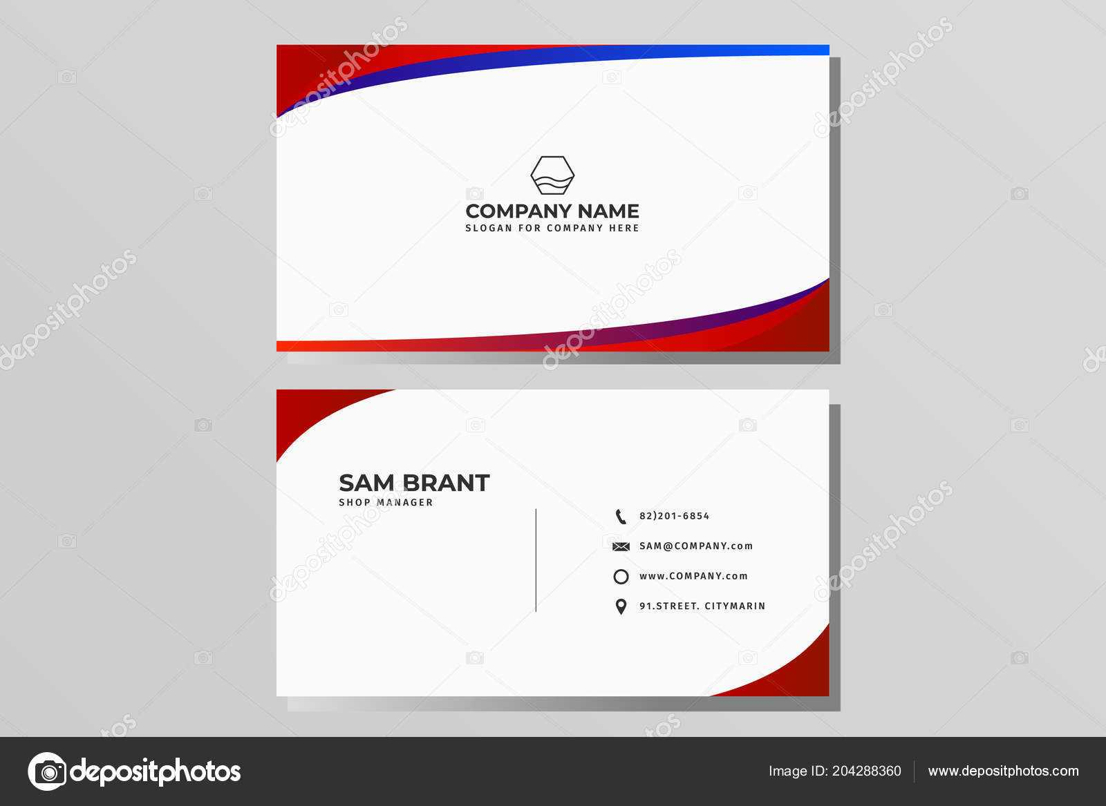 Blue Modern Creative Business Card Name Card Horizontal In Place Card Size Template