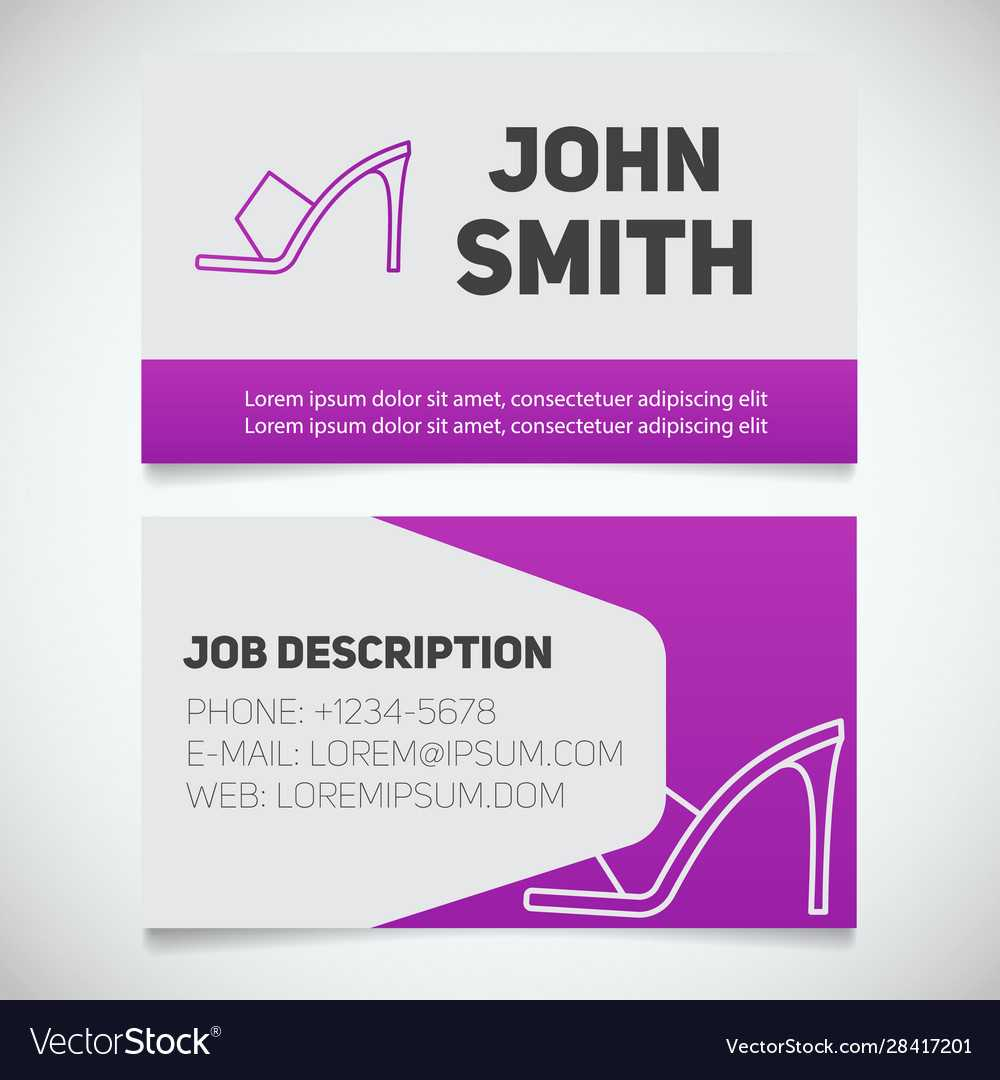 Business Card Print Template With High Heel Shoe With Regard To High Heel Shoe Template For Card