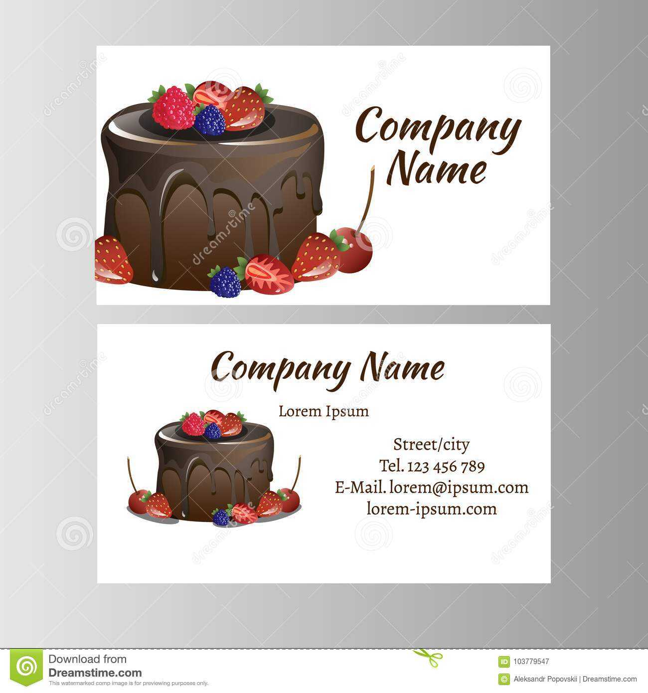 Business Card Template For Bakery Business. Stock Vector With Cake Business Cards Templates Free