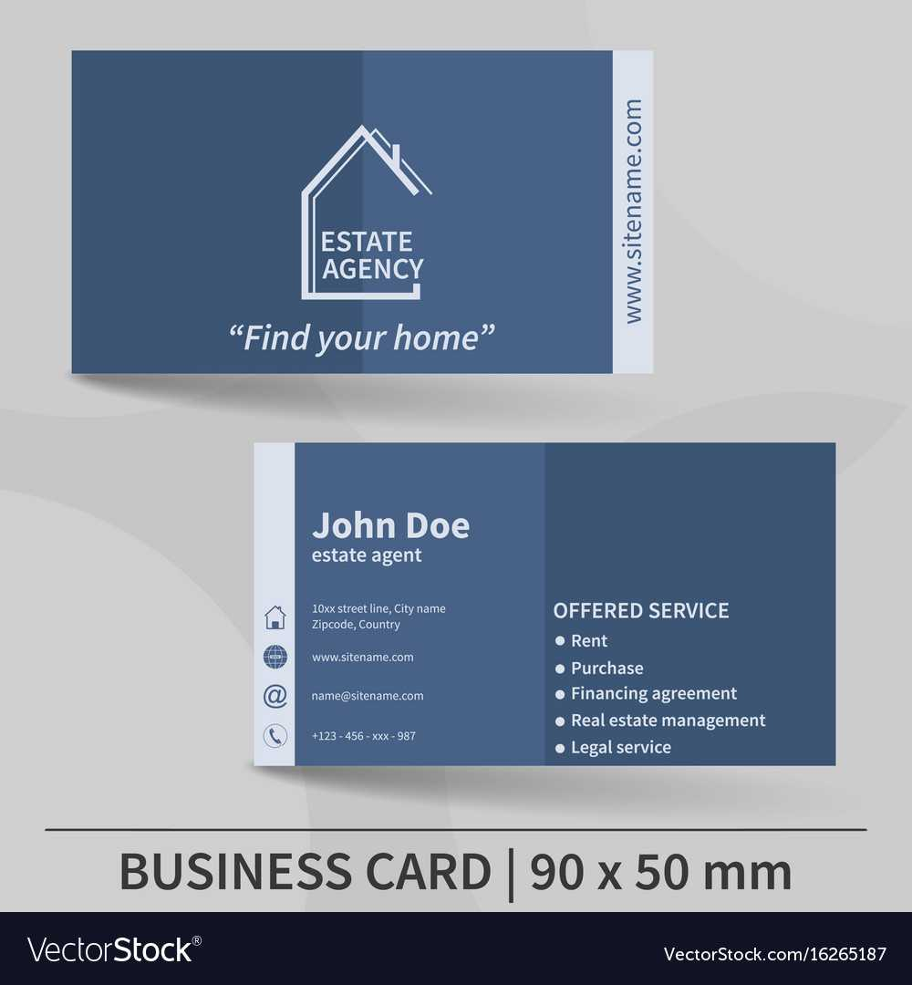 Business Card Template Real Estate Agency Design For Real Estate Agent Business Card Template