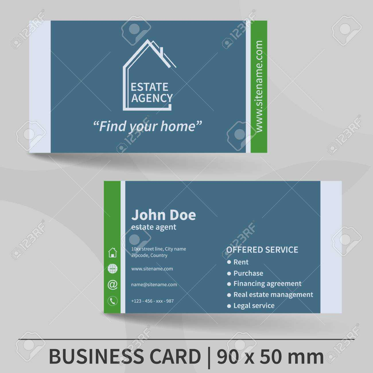 Business Card Template. Real Estate Agency. Design For Your Individual.. Pertaining To Real Estate Agent Business Card Template