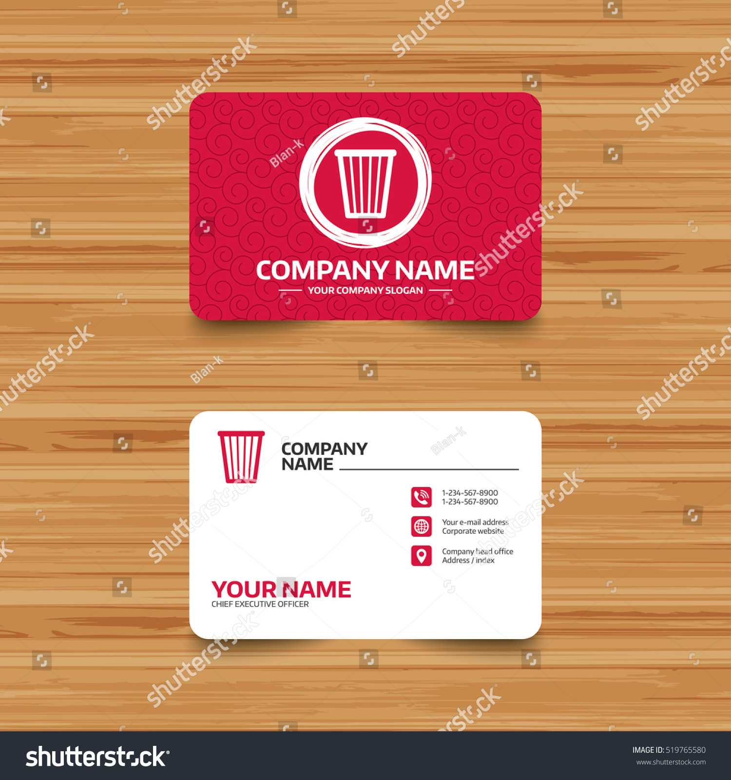 Business Card Template Texture Recycle Bin Stock Vector With Bin Card Template