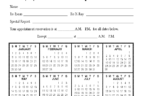 Calendar Appointment Cards in Chiropractic Travel Card Template