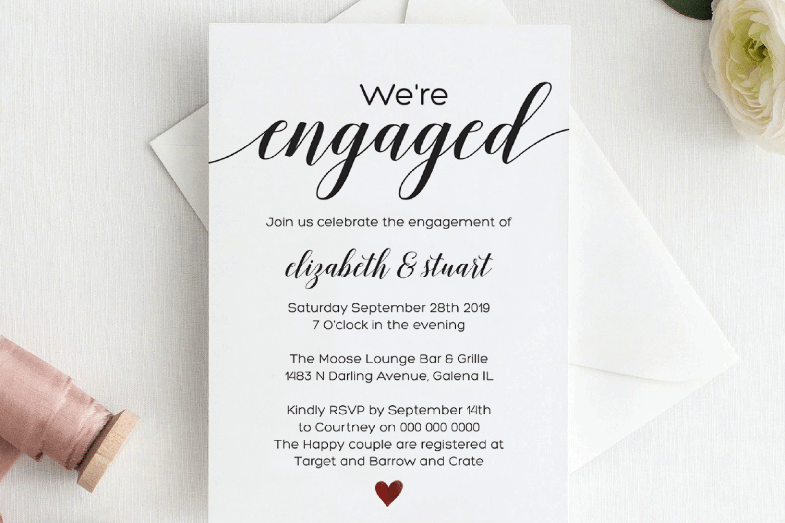 Calligraphy Engagement Invitation Template Script Engagement Within Engagement Invitation Card Template