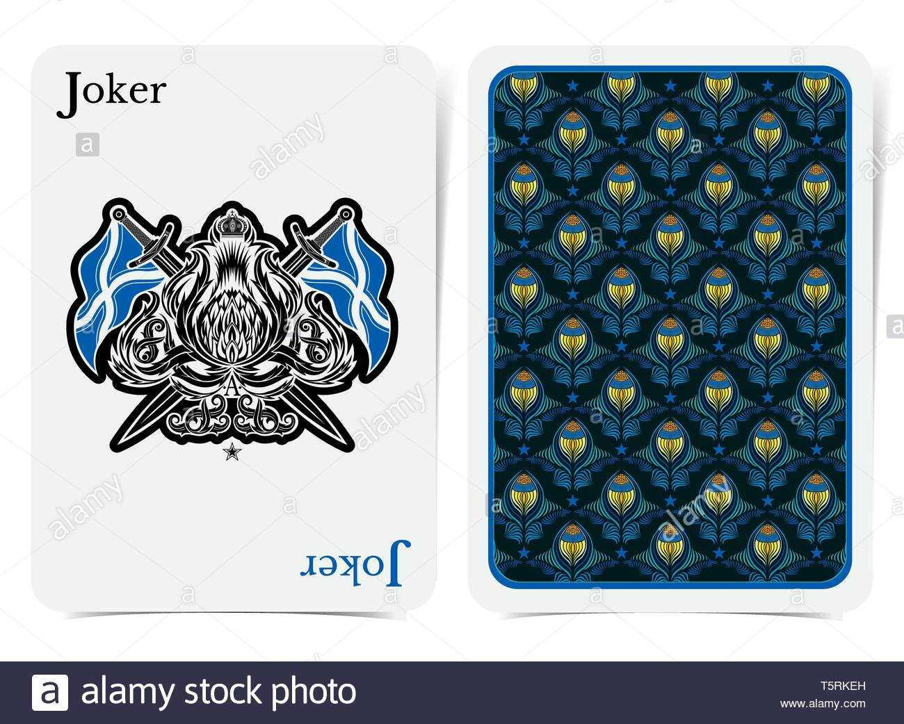 Card Face Of Joker With Thistle Plant Pattern With Crossed With Joker Card Template